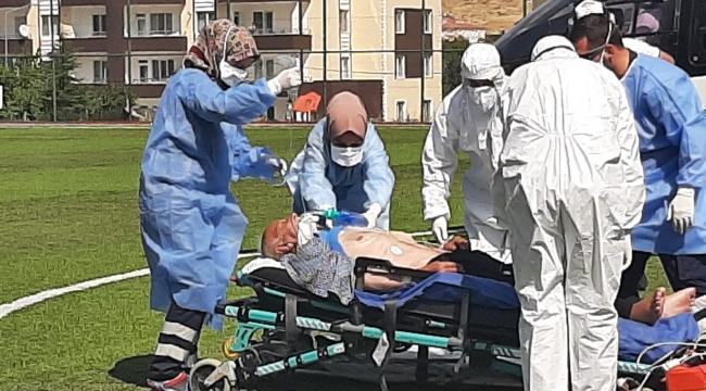 Korona hastası helikopter ile hastaneye kaldırıldı