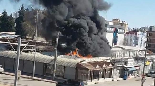 Festival çarşısında korkutan yangın