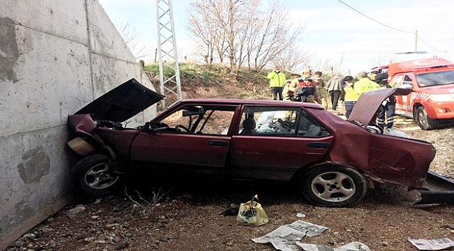 Otomobil bariyerlere çarptı: 2 yaralı!