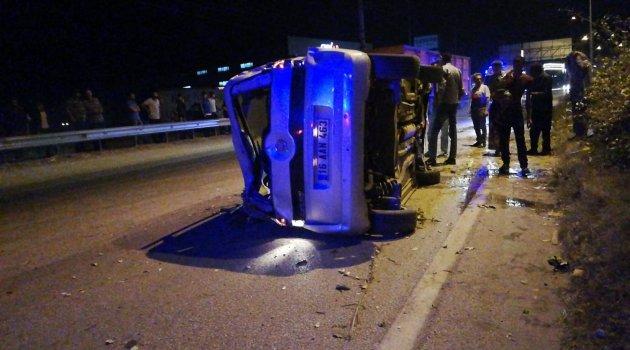 Bursa'da takla atan araç metrelerce sürüklendi: 1 yaralı