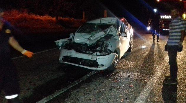 Otomobil ile hafriyat kamyonu çarpıştı: 1 ağır yaralı