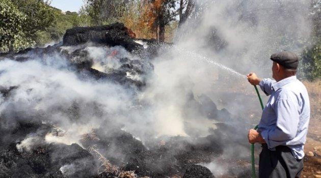 Saman deposunda çıkan yangın 300 balya samanı küle çevirdi