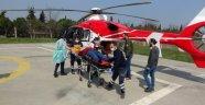 Yaralı genç ambulans helikopterle hastaneye götürüldü