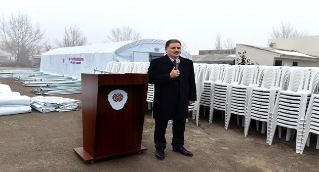 Büyükşehir Belediyesi'nden ilçelere Taziye Çadırı