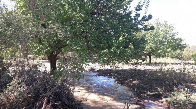 Yazıhan'da sulama kanalı taştı