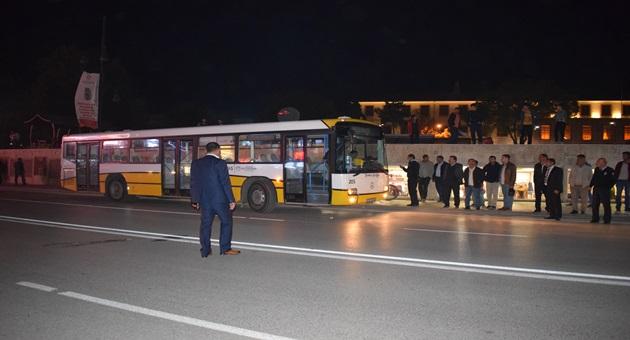 Otobüsün freni boşaldı faciasından son anda dönüldü